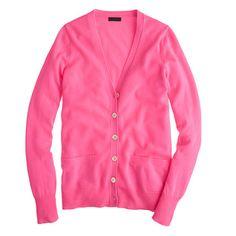 Collection cashmere boyfriend cardigan in neon hibiscus
