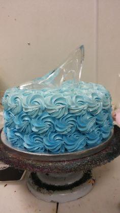 blue ombre cinderella cake