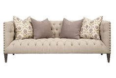 """Napa 88"""" Sofa, Cream on OneKingsLane.com  could go with a solid bedframe with no tufting and do a tufted sofa"""