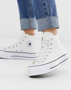 High Top Converse Outfits, Converse Chucks, White High Top Converse, White High Tops, White Leather Converse, White Converse Shoes, Custom Converse, Converse Shoes Outfit, Baskets Converse