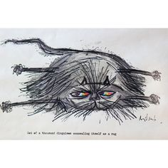 Ronald Searle Drawing - Cat of a thousand disguises concealing itself as a rug