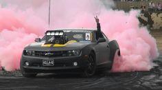Pink burnout Camaro