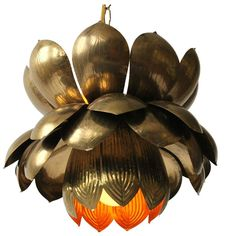 Feldman Iconic Brass Lotus Pendant Mid-Century, 1960s, USA   From a unique collection of antique and modern chandeliers and pendants at https://www.1stdibs.com/furniture/lighting/chandeliers-pendant-lights/