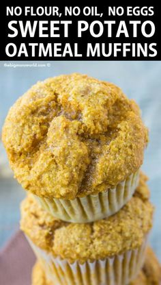 Healthy Flourless Sweet Potato Oatmeal Muffins made in a blender! This easy reci. Healthy Flourless Sweet Potato Oatmeal Muffins made in a blender! This easy recipe has no butter, n Eggs And Sweet Potato, Sweet Potato Cupcakes, Sweet Potato Dessert, Sweet Potato Muffins, Vegan Oatmeal, Oatmeal Muffins, Oatmeal Cake, Healthy Breakfast Muffins, Breakfast Recipes
