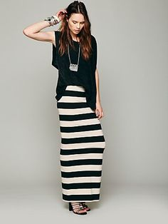 Free People Rugby Stripe Column Skirt