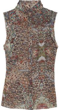 McQ Alexander McQueen Feather-print silk-chiffon top on shopstyle.com