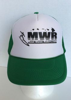 59a36ea709516 Ebay 20  MWR Maui Wave Riders Snapback Surfing Green White Trucker Baseball Mesh  Hat Cap