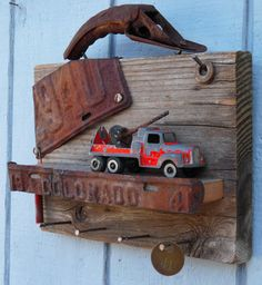 Rustic Toy Truck Key Holder  1941 License Plate  by RusticSpoonful
