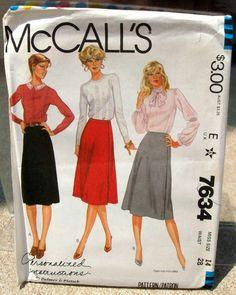 1981 Uncut McCalls Pattern 7634 Misses Skirt by lovelylovepatterns, $3.50