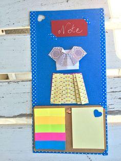 memo post it  fatto a mano con origami dress DIY  perfetto come regalo per la festa della mamma! perfect gift for mother's day