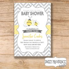 Baby Shower Invitation / Chevron & Bumble Bee by SweetProvidence, $14.00