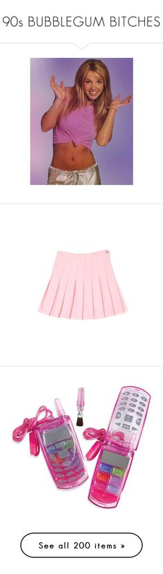 """""""90s BUBBLEGUM BITCHES"""" by vintageenglishrose ❤ liked on Polyvore featuring pictures, britney spears, icons, photos, pics, skirts, bottoms, pink skirt, beauty products and makeup"""