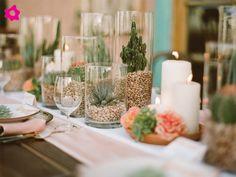 Centro de mesa para boda mexicano con cactus