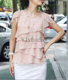 Blouse Shirt Korean Style Women Chiffon Blouse Great by YJstudio, $40.74