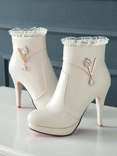New Beige Round Toe Rhinestone Fashion Ankle Boots heels boots New Beige Round Toe Rhinestone Fashion Ankle Boots Platform High Heels, High Heel Boots, Shoe Boots, Ankle Boots, Fancy Shoes, Pretty Shoes, Cute Shoes Heels, Fashion Heels, Fashion Boots