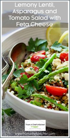 Lemony Lentil, Asparagus and Tomato Salad with Feta Cheese is light, healthful, perfect for a spring meal and will go with just about anything! #lentil #asparagus #tomato #Greekfood Healthy Grilling, Healthy Meals, Healthy Recipes, Best Gluten Free Recipes, Gourmet Recipes, Side Salad Recipes, Tomato Sauce Recipe, Tomato Salad, Vegetable Salad