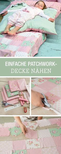DIY instructions: sewing your favorite fabrics as a patchwork blanket, home accessories ., DIY-Tutorial: sewing your favorite fabrics as a patchwork blanket, home accessory for the winter / DIY tutorial: your favorite fabric as cute patchwor. Room Decor For Teen Girls, Baby Nursery Diy, Diy Home Accessories, Winter Accessories, Diy Bebe, Patchwork Blanket, Diy Couture, Diy Tutorial, Tutorial Sewing
