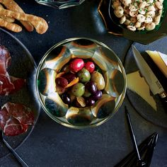 Marinated Olives with Orange: These simple but spectacular marinated olives are the perfect cocktail party snack. Get the recipe at Food & Wine. Wine Recipes, Snack Recipes, Cooking Recipes, Party Recipes, Cocktail Recipes, Dessert Recipes, Antipasto Recipes, Homemade English Muffins, Marinated Olives