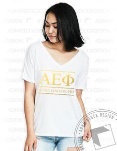 Alpha Epsilon Phi- Gold Foil Letter Tee by Adam Block Design | Less than $20 each plus shipping | www.adamblockdesign.com