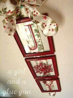 """DIY Door or Wall Hanging ~ Use backless Dollar Store frames, Holiday wired ribbon for backing and vinyl letters. Spell out a Christmas message like """"Joy"""" or """"Noel"""", or try a family monogram or surname. So simple and so pretty!"""