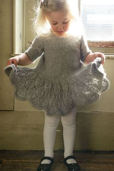 Knitting Pattern for Maddie Children's Dress - Leaf lace decorates the flared sk. Knitting Pattern for Maddie Children's Dress - Leaf lace decorates the flared skirt, sleeves and back of this adorable d. Baby Knitting Patterns, Baby Patterns, Dress Patterns, Skirt Knitting Pattern, Lace Knitting, Knitting Needles, Crochet Patterns, Girls Knitted Dress, Knit Baby Dress