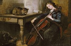 Beethoven's Andante (oil on canvas), Vintner, John Alfred / Private Collection / © Christopher Wood Gallery, London, UK / The Bridgeman Art Library Woman Singing, Victorian Paintings, Music Pictures, Classical Music, Art Music, Cat Art, Find Art, Fine Art America, Oil On Canvas