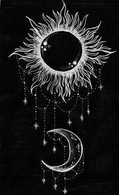 moon, stars, and sun