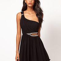 Little Mistress Jewelled Cut Out One Shoulder Dress at asos.com