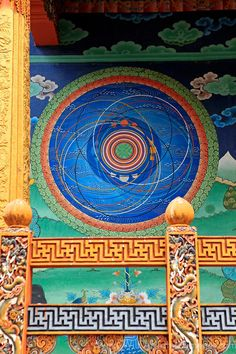 Asia, Bhutan, Punakha. The Cosmic Mandala at Punakha Dzong.