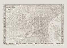 VINTAGE PHILADELPHIA MAP Antique Map of by EncorePrintSociety