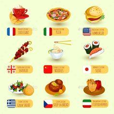 World food international cuisine decorative icons set with pizza croissant hamburger isolated vector illustration. Editable EPS an