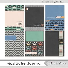 Digital Journal Cards Mustache Journaling by LilachDesigns Digital Journal, Paper Crafts, Diy Crafts, Pocket Letters, Pocket Cards, Layout Inspiration, Recipe Cards, Journal Cards, Project Life