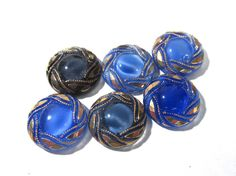 Blue Moonglow Glass Shankless Buttons West Germany VINTAGE Blue Luster Buttons Six (6) Assorted Jewelry Mosaic Sewing Supplies (J90) by punksrus on Etsy