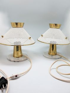 // Anonymous; Brass and Enameled Metal Table Lamps, 1950s.