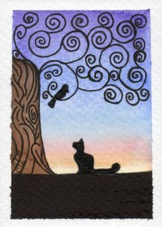 """The Negotiation Cat and Bird discussing their evening plans"" original watercolor by amyelyseneer"