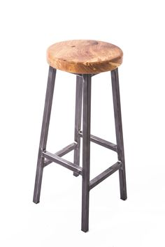 Industrial meets rustic urban stylie bar stool Chunky Elm seat. 25mm square section raw steel welded frame. 750mm high 325mm dia seat