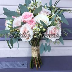 Garden style bridal bouquet with a mix of variety of flowers. Bouquet wrapped with rafia. Bouquet Wrap, Bridal Bouquets, Garden Styles, Special Events, Floral Design, Berries, Floral Wreath, Roses, Wreaths