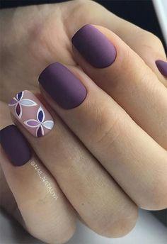 Cute Nail Art Designs for Short Nails 2019 - Nageldesign - Nagels Cute Nail Art Designs, Short Nail Designs, Acrylic Nail Designs, Acrylic Nails, Nail Design For Short Nails, Lilac Nails Design, Short Nail Manicure, Purple Nail Designs, Marble Nails