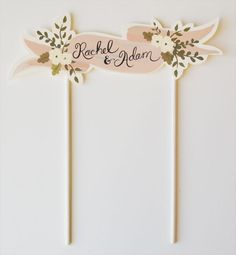 Custom Cake Topper Bride and Groom Handpainted Names-Blush. $36.00, via Etsy.