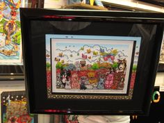 It's a Dog Day Afternoon  art by Charles Fazzino, framed with our special hand-painted border , black linen and black lacquer! (310) 576-1000