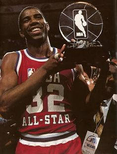 Earving Magic Johnson Los Angeles Lakers Most Valuable Player MVP NBA All-Star Game