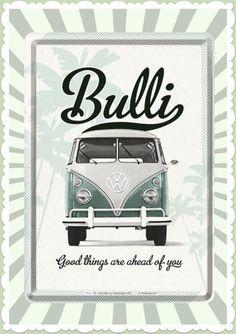 "Nostalgic Art Retro Oldtimer Blechpostkarte ""VW Good things are ahead..."""