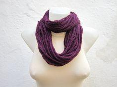 Scarf Crochet infinity Purple Crochet Necklace Chain by scarfnurlu