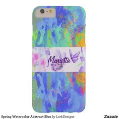 Spring Watercolor Abstract Blue Barely There iPhone 6 Plus Case