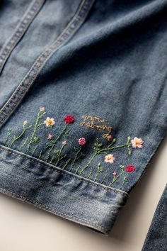 DIY Embroidered Embellished Jean Jacket by Anne Weil of Flax & Twine