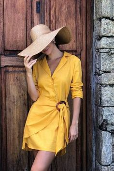 CHEMISE EM LINHO COM LENÇO E FIVELA CROC Funky Dresses, Casual Dresses, Short Dresses, Chic Outfits, Spring Outfits, Kimono Fashion, Fashion Dresses, Filipino Fashion, Vetement Fashion