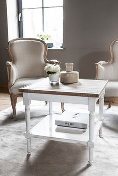 Country Chic Side Table ( W 23.6 x H 21.3 x D 23.6 in ) Milady Armchair ( W 31.5 x H 37.4 x D 27.6 in )