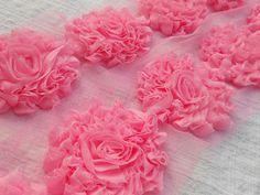 "1 yard Red glitter ruffle 3/"" shabby chiffon rose trim flowers DIY"