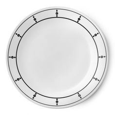 Strands of black dots adorn this dinner plate in crisp, graphic fashion. Black And White Plates, Black Dots, Black White, Appetizer Plates, Dinner Plates, Corelle Dinner Set, Corelle Plates, Clean Plates, White Dinnerware