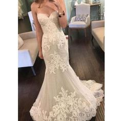2017 Strapless Sweetheart Lace Mermaid Elegant Simple Charming Cheap Wedding Dress , WD0175